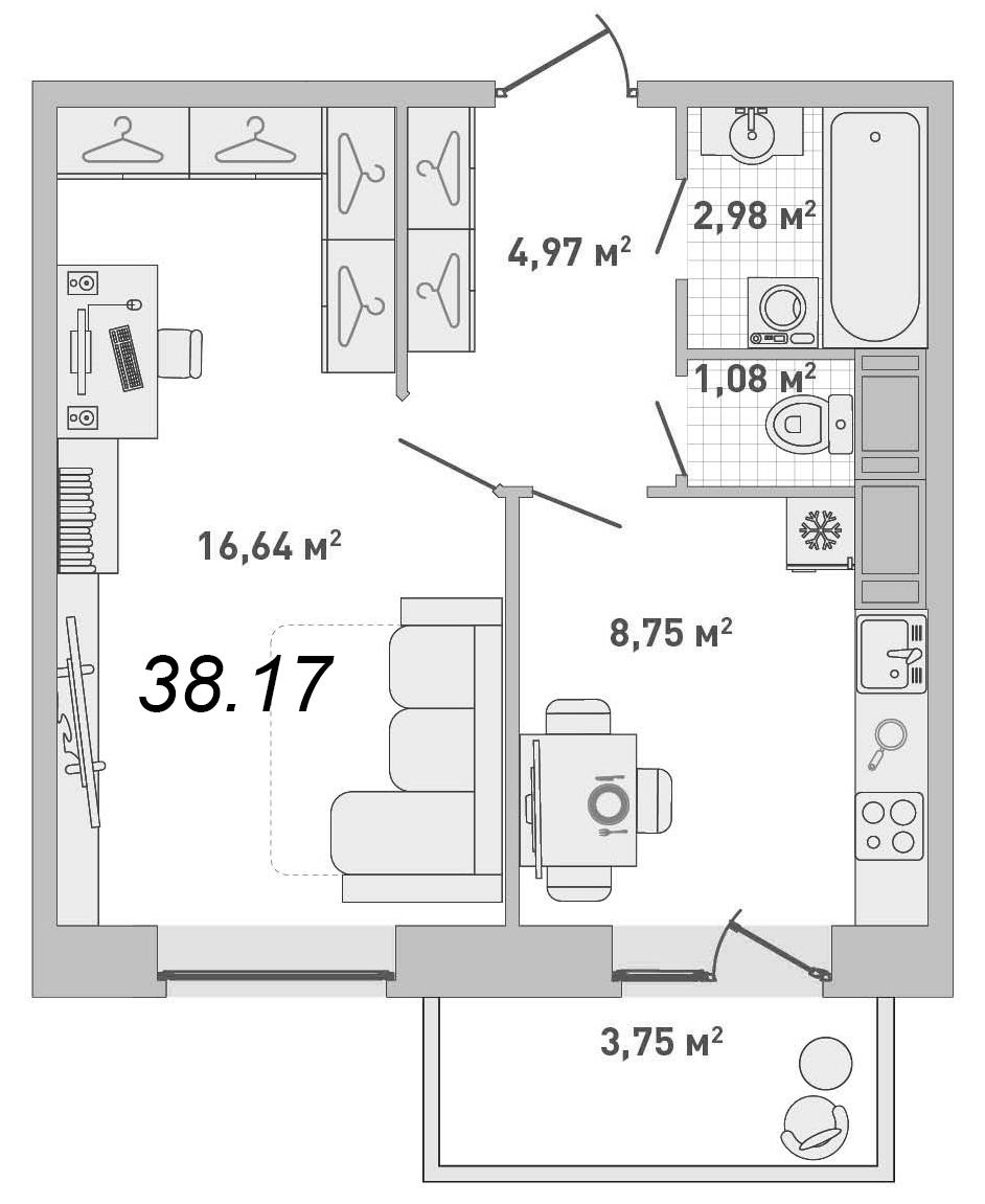 """Продажа 1-комнатной квартиры в жк """"кантемировский"""", общей пл."""